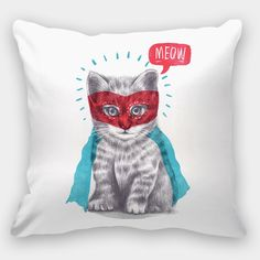 Super Cat Throw Pillow Cat Throw Pillow Cover Kitty by FuzzyInk