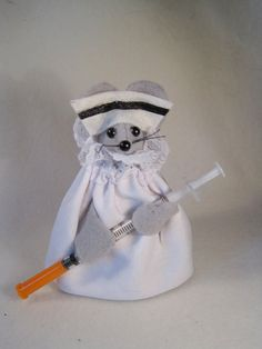 Felt Mouse dressed as a Nurse with a Syringe by atticmouse on Etsy, $10.00