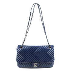 CHANEL - a blue chevron quilted Single Flap handbag. Chevron Quilt 368b4424c191a