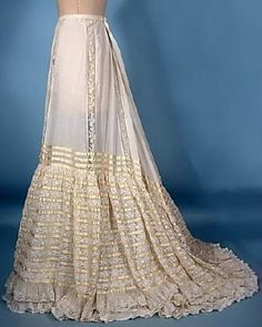c. 1905 Extra Lacy Trained Wedding Slip with Ecru Silk Ribbons and Lacy Hemline