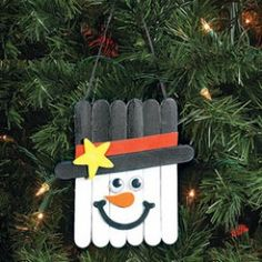 Snowman made of popsicle sticks; Paint your popsicle stick white. Use colored felt to make hats and scarves and glue to the stick. Draw or paint on the snowman's face. Put on a hanger as described above and you are done. use a variety of colors and patterns to make the hats and scarves. Use popsicle size and tongue depressor size sticks to vary your snowman and add more interest to your tree.