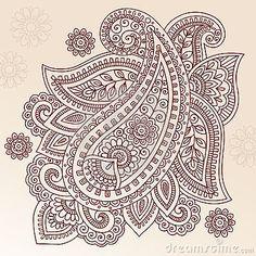 Diseño del vector del Doodle de Paisley de la flor del tatuaje de la alheña