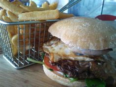 The Angry Moose in Perth serves some great burgers and yummy sweet potato chips. Moose Meat, Ciabatta Roll, Sweet Potato Chips, Perth, Burgers, Hamburger, Bakery, Dinner, Cooking