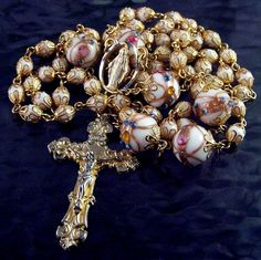 Rosary Guild: Wedding Cake Bead Rosary Handmade by Laude Arts and Gifts