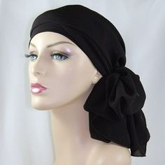 Brown Silky 2 piece head wrap for alopecia, chemo or cancer treatment hair loss.  The hat won't slip & you can tie the scarf to suit your style.