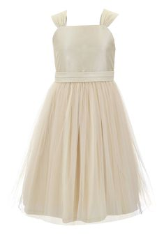 Emma Riley Girls' Tulle Skirt Dress with Sash 10 Champagne. Imported. Hand Wash. Sleeveless party dress featuring wide straps and pleated waist sash. A-line skirt with tulle overlay, hidden back zipper, tie back bow.