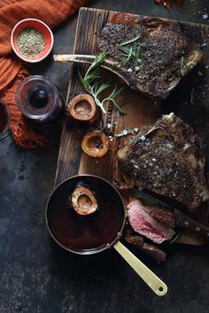 Perfectly pink rib-eye steak served with a rich red wine sauce flavoured with NOMU Beef Fond. The addition of bone marrow makes this a decadent dish.