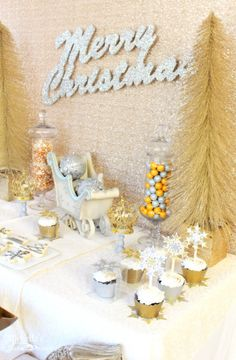 Gold + Silver Christmas Dessert Table via Kara's Party Ideas KarasPartyIdeas.com Printables, favors, banners, food, desserts, and more! #goldandsilverdesserttable #winterdesserttable #christmasparty #goldandsilverparty (4)