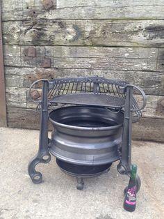 Attractive Rim Fire Pit : Old Tractor Rims Fire Pit. Old tractor rims fire pit. Rim Fire Pit, Wheel Fire Pit, Fire Pit Bbq, Cool Fire Pits, Fire Pit Backyard, Barbecue Design, Grill Design, Fence Design, Diy Wood Stove