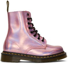 Martens - Pink Reflective Metallic Pascal Lace-Up Boots Dr. Martens, Doc Martens Stiefel, Doc Martens Boots, Pink Doc Martens, Metallic Boots, Leather Lace Up Boots, Leather Booties, Pink Leather, Metallic Leather