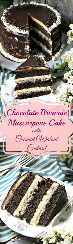 An indulgent and sweet homemade chocolate brownie cake, with layers of vanilla mascarpone buttercream, coconut walnut custard and chocolate ganache. Chocolate Brownie Cake, Chocolate Desserts, Chocolate Ganache, Just Desserts, Delicious Desserts, Cupcakes, Cupcake Cakes, Cake Recipes, Dessert Recipes