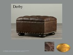 Chesterfield Taburete</br>Derby (H) Old Look Marrón