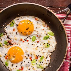Asian eggs: This is an exotic twist on that essential breakfast item, the fried egg. It only takes second to make but really wakes up the taste buds. Serves: 2 Preparation time: 2 minutes Cooking time: 5 minutes You will need ½ red chilli 1 spring onion Fresh ginger, grated 2 eggs Sesame seeds – black and white, toasted 1 tsp sunflower oil