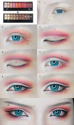 Cosplay Eyes Make-up von Mollyeberwein auf DeviantArt - schminken Anime Eye Makeup, Anime Cosplay Makeup, Makeup Art, Beauty Makeup, Makeup Drawing, Geisha Makeup, Diy Beauty, Beauty Hacks, Makeup Inspo