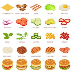 isometric illustration of 25 burger ingredient food vector icons for web Premium Vector Food Menu Design, Food Truck Design, Burger Menu, Burger Recipes, Breakfast Smoothies For Weight Loss, Healthy Breakfast Recipes, Buffalo Burgers, Mini Burgers, Food Concept