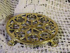 5.5 inch diameter Round Brass Trivet Signed Baldwin Shelburne Museum