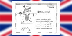 Naučte sa spievať jesennú anglickú pesničku o strašiakovi a rozhýbte si pritom telíčko. Keď dospievate, môžete si vyfarbiť strašiaka:) Scarecrow song Scarecrow, scarecrow turn around. Scarecrow, scarecrow touch the ground. Scarecrow, scarecrow reach up high. Scarecrow, scarecrow touch the sky. Scarecrow, scarecrow bend down low. Scarecrow, scarecrow touch your toes.