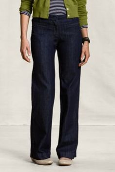 Women's Polished Denim Trousers from Lands' End Canvas
