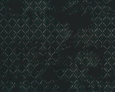 Beflockter Viskose-Stretch BARTON, längselastisch, Blütenrauten, moosgrün-schwarz