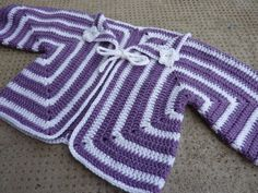 """Free pattern for """"Hexagon Baby Cardigan""""...so cute!"""