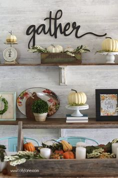 Best Ideas DIY and Crafts Inspiration : Illustration Description Easy Fall Tablescape Ideas to spruce up your space for autumn! Love BHG's new fall line, gorgeous! Fall Home Decor, Autumn Home, Diy Home Decor, Autumn 2017, Thanksgiving Decorations, Seasonal Decor, Fall Crafts, Diy And Crafts, Do It Yourself Crafts