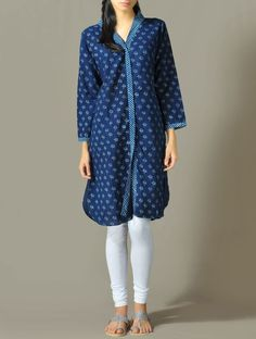 Lotus Print Cotton Tunic with Slits