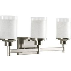 "Progress Lighting P2978-09 3-Light Wall Bracket with White Linen Finished Glass and Clear Edge Accent Strip, Brushed Nickel....22"" wide, $125, Prime"