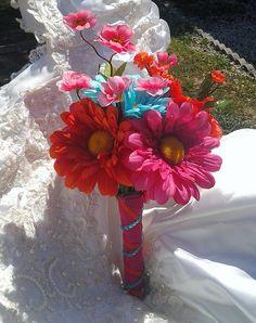 Tropical Delight Wedding Bouquet Orange, Aqua Blue and Dark Pink Gerber Daisy Bridal Bouquet. Like the base Plan My Wedding, Wedding Prep, Dream Wedding, Wedding Stuff, Wedding Ideas, Daisy Bridal Bouquet, Bridesmaid Bouquet, Tropical Wedding Bouquets, Wedding Flowers