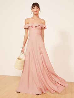Verbena ruffle off the shoulder dress blush pink Reformation