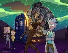 Austen Marie: Rick And Morty x Doctor Who Crossover Rick And Morty Crossover, Rick Und Morty, Rick And Morty Poster, Rick And Morty Season, Rick E, Fanart, Get Schwifty, Fandom Crossover, Cartoon Crossovers