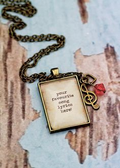 PERSONALISED song lyrics quote necklace. Your by KitschyKooDesign, $20.00