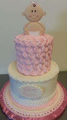 Rosette baby shower cake