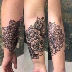 Mandala, Tattoos, Flowers, Tatuajes, Tattoo, Floral, Royal Icing Flowers, Cuff Tattoo, Florals