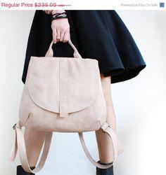 ON SALE Camel Leather Backpack Bag, Women Backpack on Etsy