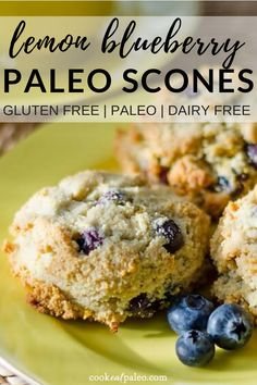 These paleo lemon blueberry scones can be made in one bowl! Gluten-free grain-free dairy-free and refined sugar-free. They taste delicious with a little drizzle of coconut butter! A delicious breakfast snack or treat! Paleo Dessert, Paleo Snack, Paleo Sweets, Paleo Food, Paleo Muffin Recipes, Vegetarian Recipes, Paleo Kids, Zoodle Recipes, Dessert Recipes