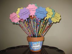 Blogging, Teaching and Second Grade... Oh My!: Birthday pencils  do this ahead of time and have the kids' presents ready before school starts!  cute decor for the classroom too!