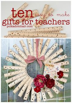 These are some great non-candy appreciation gifts for teachers. Even if your child& teacher isn& your favorite person, you should still appreciate the time they& spent with your child. 10 Easy to Make Gifts for Teachers Easy Gifts, Creative Gifts, Teacher Wreaths, School Wreaths, Diy Spring, Diy Cadeau, Great Teacher Gifts, Christmas Gifts For Teachers, Gift Ideas For Teachers