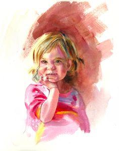"""""""Callie"""", Kathy Jurek Watercolor Portrait, 2014"""