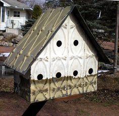 Primitive-Hand-Tooled-Antique-Ceiling-Tin-Tile-Wren-Bird-House-USA-Chic-Fleur-De