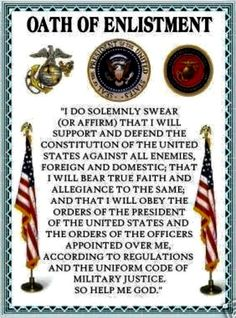 I took this oath when I enlisted into the Marine Corps. I still live this oath today. Usmc Quotes, Military Quotes, Military Mom, Military Veterans, Military Service, Navy Veteran, Quotes Quotes, Marine Quotes, Military Honors