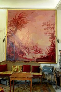 Attribué à Jacques François Van der BUCH (1756-1803) Grande chinoiserie en… Chinoiserie, Chinese Whispers, Grisaille, Paint Effects, World Of Interiors, Objet D'art, Where The Heart Is, Chinese Art, Architecture Details