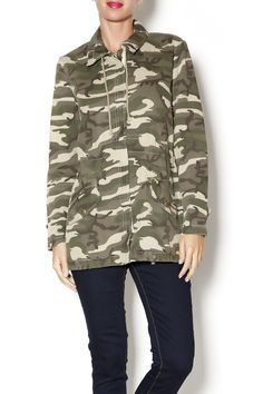 Lightweight and versatile camo print jacket with front pockets. Look tough yet feminine by pairing this jacket with fitted skinny jeans and sky high heels. Camo Jacket by Bobi Los Angeles. Clothing - Jackets, Coats & Blazers New Jersey