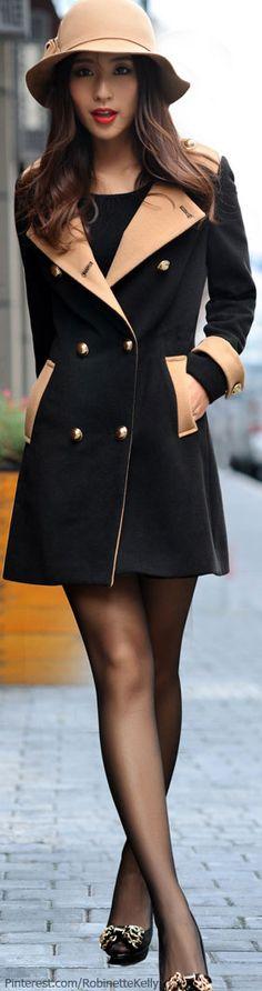 Street Style | Black & Beige Coat