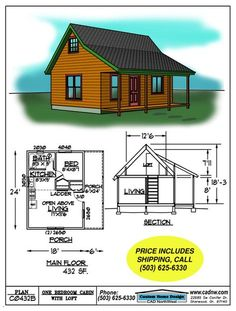 Pergola Attached To House Plans Cabin Plans With Loft, Small Cabin Plans, Cabin House Plans, Cabin Floor Plans, Cabin Kits, Tiny House Cabin, Cabin Homes, Small House Plans, Tiny Homes