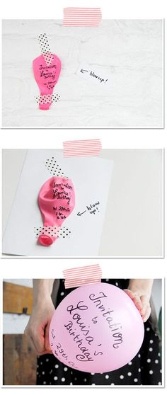"""Blow Up Balloon Invitation! How fun and clever and can be used for so many different types of events.---Could use this for Valentines day classmate cards--""""You blow me away! Party Gifts, Diy Gifts, Birthday Celebration, Birthday Parties, Birthday Invitations, Birthday Cards, Invites, Balloon Invitation, Blowing Up Balloons"""