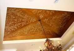 Bronze and Gold Metallic Paints were layered into each other to create a smooth, rich finish. Fantastic groin ceiling and stenciling by Ashlie Bickford & Kindra Benge of A Fabulous Finish * Faux and Decorative Finishes! http://afabulousfinish.net