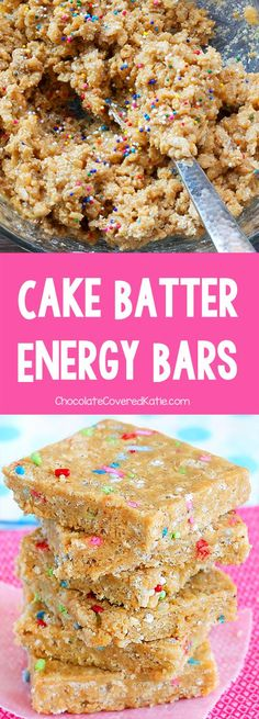 """No ratings yet.  These healthy cake batter energy bars will rock your face off.   Addictively delicious """"no-bake"""" energy bars that taste surprisingly like cake batter. It's weird, but they really do!"""