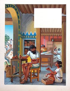 Babylonian Household (Original) (Signed) art by Angus McBride Archive