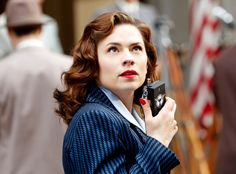 Agent Peggy Carter (Hayley Atwell) I want to see this show. I hope its not as cheesy as Agents of Shield. I'm sorry, I love marvel, and phil coulson, but its cheesy. << ITS SOOOO GOOOOD Hayley Atwell, Peggy Carter, Stan Lee, Marvel Women, Marvel Avengers, Marvel Heroes, Marvel Females, Marvel Girls, Marvel Characters
