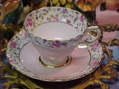 Rosina Pink and Roses Bone China Tea Cup & Saucer Excellent Condition England in Pottery & Glass | eBay